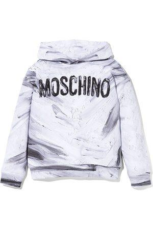 Moschino Brushed logo print hoodie