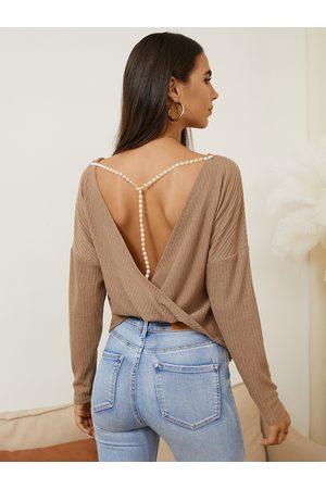 YOINS Pearl Twist Design Round Neck Backless Knitwear