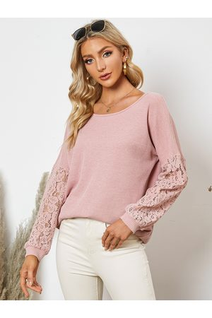 YOINS Lace Insert Patchwork Round Neck Long Sleeves Knitwear