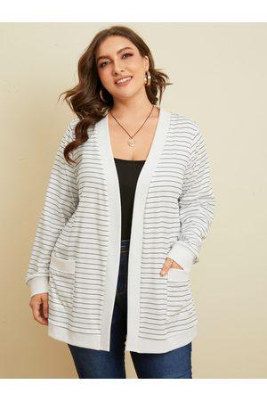 YOINS Plus Size Striped Knit Pocket Long Sleeves Cardigan