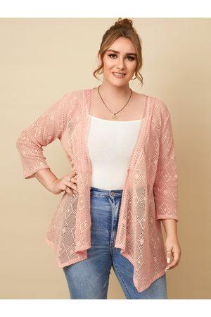 YOINS Plus Size Lace 3/4 Length Sleeves Kimono