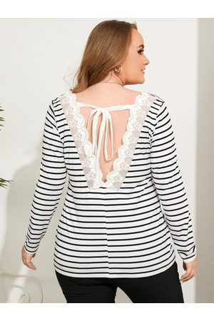 YOINS Plus Size V-neck Striped Lace Tie-up Design Long Sleeves Tee
