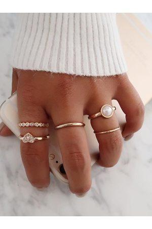 YOINS 5 Pcs Heart Diamond Alloy Ring Set