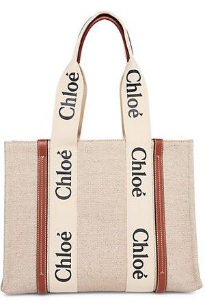 Chloé Women Handbags - Large Woody Canvas Tote
