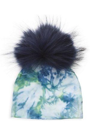 Bari Lynn Girls Hats - Fur Pom Tie Dye Hat