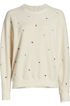 The Great Faux Shearling Embroidered College Sweatshirt
