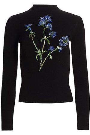 Oscar de la Renta Embellished Mock Turtleneck Sweater