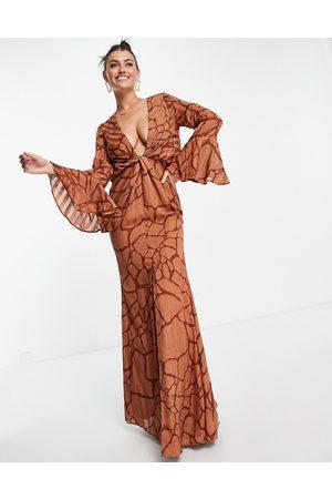 ASOS Women Printed Dresses - Satin stripe maxi dress in abstract animal print-Multi