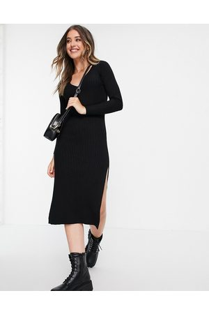 ASOS Knitted dress with v neck in rib in