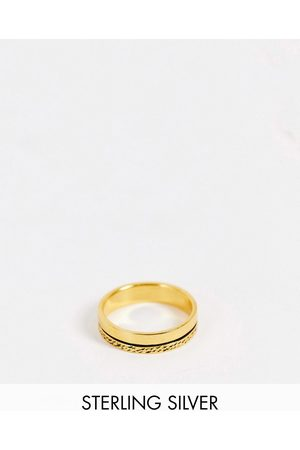 ASOS Sterling silver band ring with texture in 14k plate