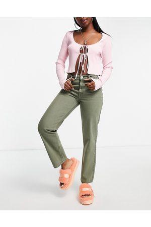 ASOS Low rise straight leg jean in khaki