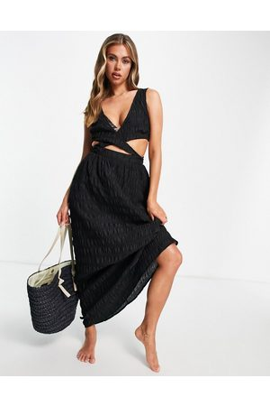 ASOS Cross waist textured maxi beach dress in