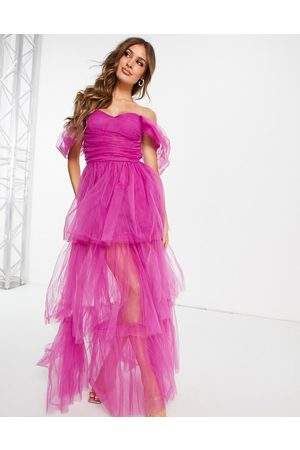 Lace & Beads Exclusive off shoulder tulle maxi dress in