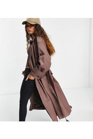 ASOS Petite oversized trench coat in dark