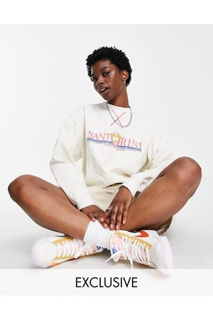 Reclaimed Inspired relaxed sweatshirt with Santorini print in