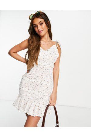 ASOS Shirred mini sundress in white based spot print-Multi