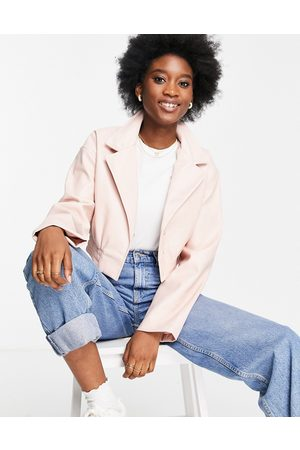 ASOS Glam cropped faux leather jacket in