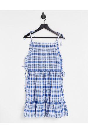 ASOS Shirred bodice cotton mini smock sundress in blue and white check print-Multi