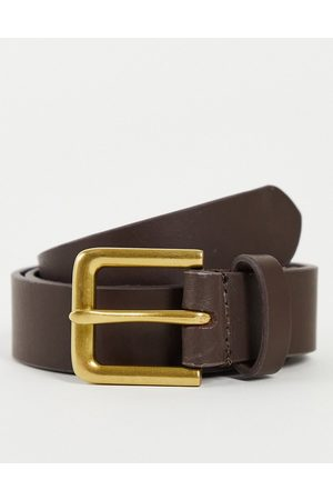 ASOS Leather slim belt in with antique gold buckle