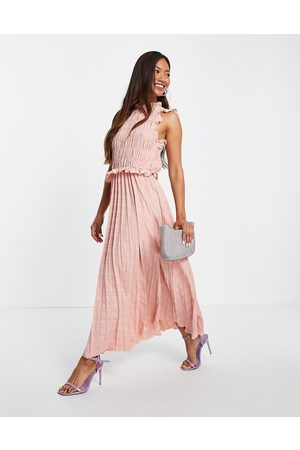 ASOS Shirred sleeveless pleated midi dress with open back in soft