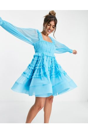 Lace & Beads Exclusive tulle smock mini dress in bright