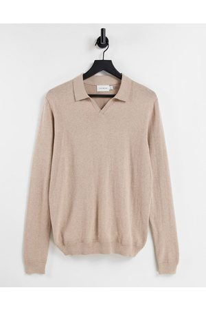 Topman Long sleeve open collar knitted polo in stone-Neutral
