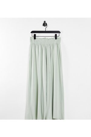 ASOS ASOS DESIGN Curve culotte trouser with shirred waist in sage
