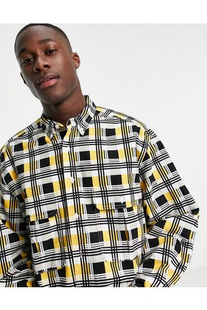 Levi's Levi's Skateboarding square check 2 pocket relaxed fit overshirt in black/yellow-Multi