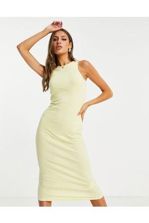 I saw it first Ribbed midi bodycon dress in lemon