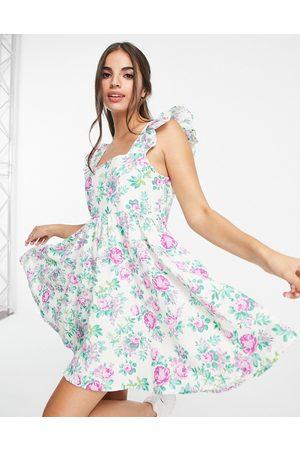 ASOS Square neck ruffle smock mini sundress in linen in white rose floral print-Multi