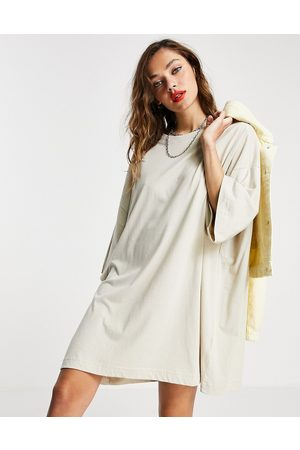 Weekday Huge organic cotton t-shirt dress in taupe-Neutral