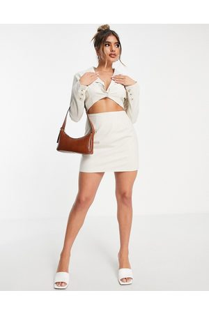 In The Style X Yasmin Chanel cut waist blazer dress in stone-Neutral