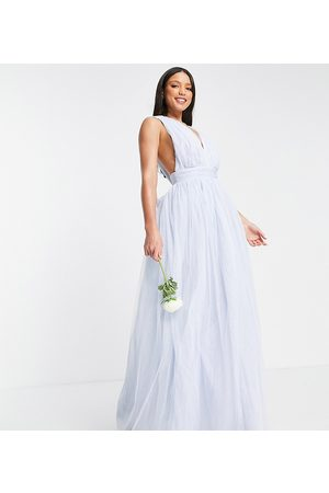 ASOS ASOS DESIGN Tall tulle plunge maxi dress dress with bow back detail in powder