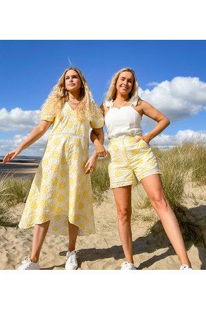 Labelrail X Olivia & Alice midi smock dress with trim insert in broderie