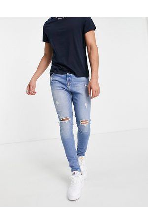 JACK & JONES Intelligence Pete carrot fit jeans with rips in midwash
