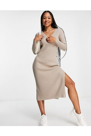 ASOS Knitted dress with v neck in rib in taupe-Neutral