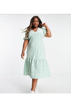 Fashion Union Maxi tea dress in floral with ruffle sleeves