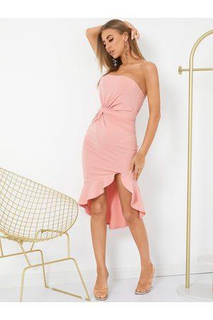 YOINS Backless Ruffle Hem Twist Design Strapless Tube Midi Dress