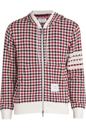 Thom Browne Men Sweatshirts - Check Print Zip-Up Hoodie Sweatshirt