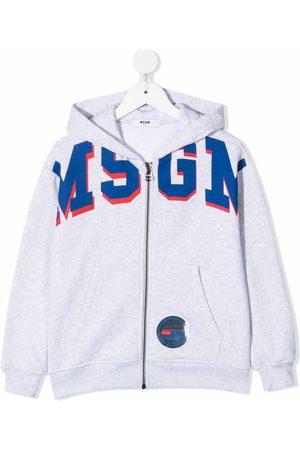 Msgm Boys Hoodies - Logo-print zipped hoodie