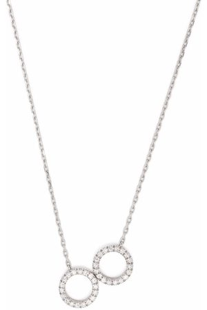 COURBET 18kt recycled white gold O2 laboratory-grown diamond double ring pendant necklace
