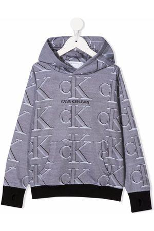 Calvin Klein Boys Hoodies - Oversized monogram-print hoodie