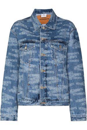 Vetements Women Denim Jackets - All-over logo denim jacket