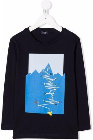 Il gufo Boys Long Sleeve - Path-print cotton T-Shirt