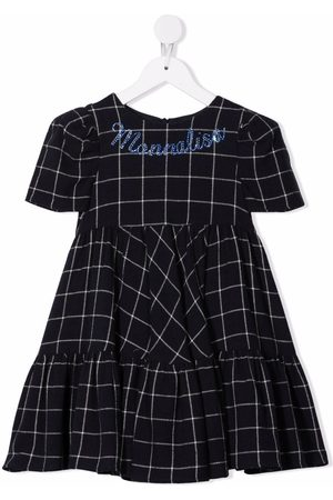 MONNALISA Checked beaded-logo dress