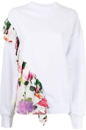Msgm Women Sweatshirts - Ruffled floral-print sweatshirt