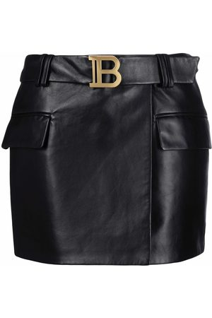 Balmain SHORT LOW-RISE BELTED LEATHER SKIRT