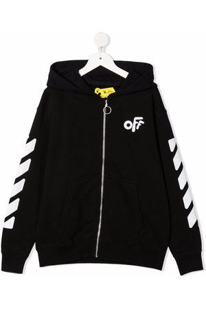 Off-White Kids Girls Hoodies - Zip-front logo-print hoodie