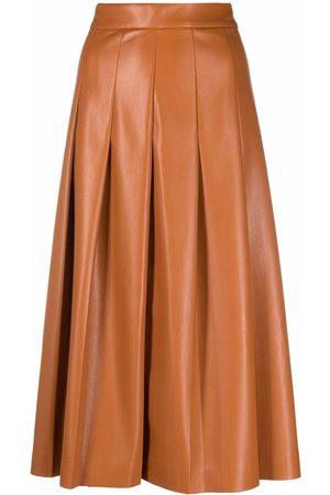 Msgm Pleated faux-leather midi skirt