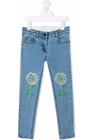 Stella McCartney Girls Slim - Floral-embroidered slim-fit jeans
